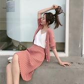 VK旗艦店 韓系時尚開衫上衣針織褶皺裙套裝短袖裙裝