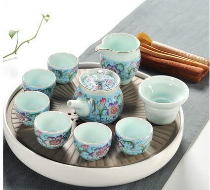 幸福居*瓷神家用汝窯功夫茶具茶杯陶瓷幹泡茶盤托套裝日式簡約小茶台茶海3(主圖款)