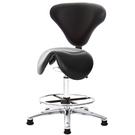 GXG 立體泡棉 小馬鞍加椅背 工作椅(寬鋁腳+踏圈) 型號81T8 LU1K