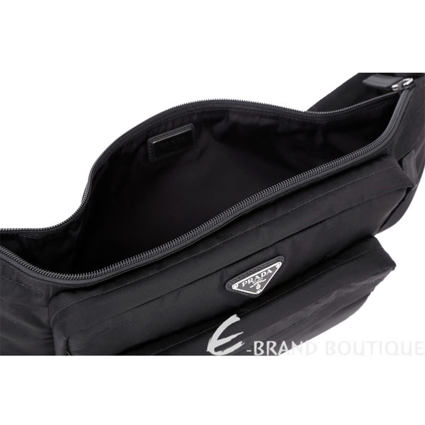 PRADA Tessuto 經典三角牌多功能口袋設計尼龍斜背包(黑色) 1810347-01