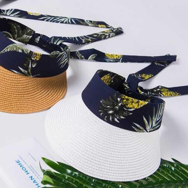 MIUSTAR 鳳梨花布後綁式草編遮陽帽(共3色)【NH1095】預購