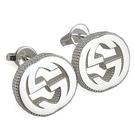 【奢華時尚】GUCCI 925純銀-Interlocking 雙G針式耳環
