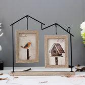 創意北歐風鐵藝房子客廳文藝餐廳裝飾6寸照片相框架擺台畫框擺件 【販衣小築】