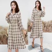 VK精品服飾 韓國風復古格子連身裙寬松長袖洋裝