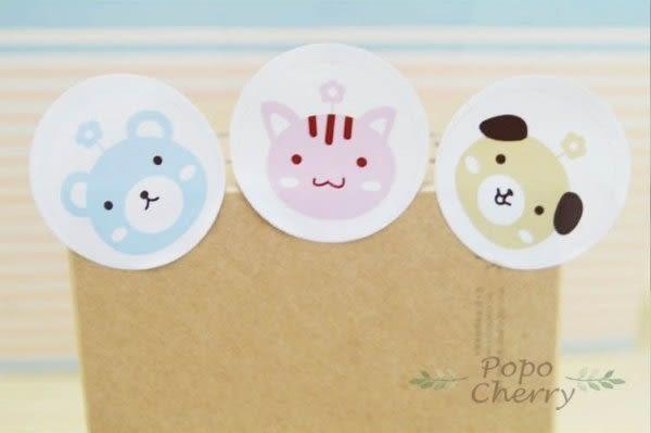 24入  可愛動物 圓形烘焙禮品貼 封口貼