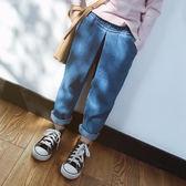 女童寬鬆打折牛仔褲 長褲 橘魔法 Baby magic 現貨 中童 童裝 女童 兒童