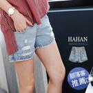 哈韓孕媽咪孕婦裝*【HB3096】腰可調孕婦褲.淺色刷破牛仔短褲