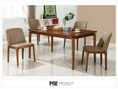【MK億騰傢俱】CS953-2L喬安娜5尺胡桃餐桌椅組(桌*1、椅*4)