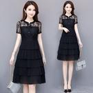 洋裝2021夏季新款韓版氣質時尚顯瘦蛋糕裙拼接中長款純色雪 快速出貨