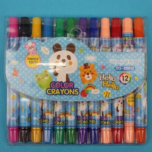 12色旋轉蠟筆 東奇DQ-20012(短型袋裝)/一箱12小盒入(促69) 彩桿-萬