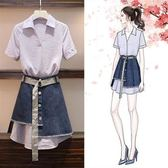工廠批發不退換中大尺碼XL-5XL短袖襯衫短裙套裝33540夏裝新款襯衫時尚毛邊不規則牛仔裙兩件套