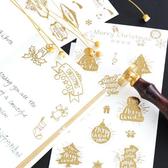 【BlueCat】Merry Christmas聖誕老人麋鹿燙金貼紙 手帳貼紙