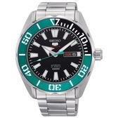 【僾瑪精品】SEIKO 精工 5號 潛水風格羅盤造型機械錶-銀x綠/4R36-06S0M(SRPC53J1)