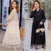 初心 質感系 洋裝 【D5620】韓系 蕾絲 拼接 高腰 長袖 長裙 蝴蝶結領 長洋裝
