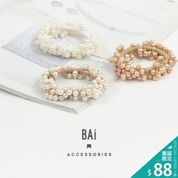 髮束 韓風珍珠編織纏繞串珠髮飾-BAi白媽媽【196322】