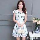 2020年流行中年女裝碎花雪紡連身裙洋裝35歲45夏季短袖媽媽新款裙子 KP915『小美日記』