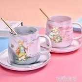 比得兔馬克杯豬豬印花大理石紋咖啡杯早餐牛奶杯套裝帶勺陶瓷杯墊 流行花園