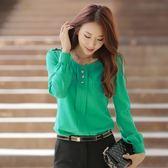 9227-JK 綠3XL 韓版剪裁顯瘦圓領雪紡百搭OL襯衫-美之札