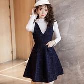 小香風金蔥毛呢藏藍V領背心裙洋裝[98931-QF背心裙]美之札
