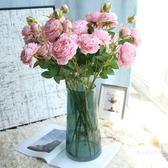 仿真牡丹花玫瑰花束婚慶家居客廳落地裝飾干花假花絹花插花擺件【名創家居生活館】