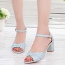 魚口鞋 涼鞋女夏新款韓版百搭夏季中跟羅馬高跟鞋一字扣粗跟魚嘴女鞋 交換禮物