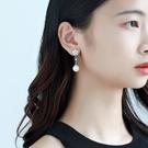 新年耳飾 優雅花朵耳釘925銀針珍珠耳環女氣質日韓個性中長款耳飾新娘配飾【快速出貨八折搶購】