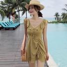 2020新款連體平角褲裙式游泳衣女保守顯瘦遮肚韓國度假學生ins風『潮流世家』