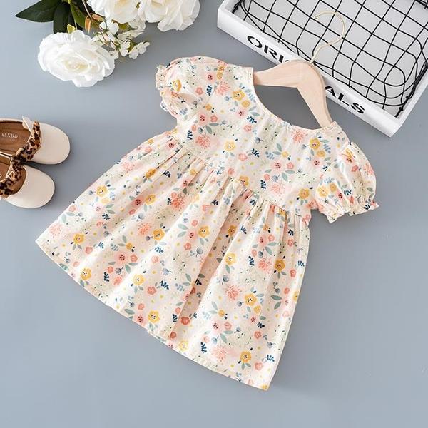 女童洋裝夏季2021新款兒童裝碎花短袖公主裙女寶寶洋氣夏款裙子 幸福第一站