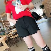 肉捲家大碼女裝寬鬆牛仔短褲胖MM高腰復古闊腿3分熱褲子     時尚教主