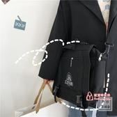 帆布包 日系原宿風古著感書包女 兩用暗黑風設計帆布包斜背包學生包包 3色