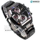 WIRED 超視覺炫彩 日系東京潮流 酒樽型 三眼計時碼錶 IP黑電鍍 男錶 黑x紫 AY8012X1 VR33-0AB0P