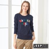 【JEEP】女裝 立體多彩文字保暖長袖TEE (海軍藍)