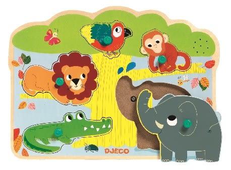 85折~《 法國智荷 DJECO 》 木拼圖 - 森林動物聲音釘子拼圖╭★ JOYBUS 玩具百貨