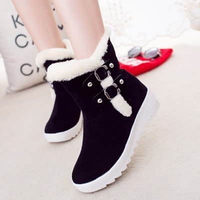 中筒雪靴-時尚潮流保暖內增高女低跟靴子3色73kg25[巴黎精品]