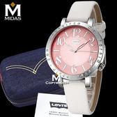 LEVIS 女錶 石英錶 真皮錶帶 大錶面設計 Levi's 女用手錶 經典盒裝/白皮帶粉錶面/38.5mm