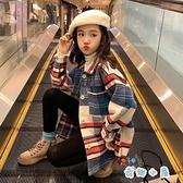 女童襯衫外套韓版時尚長袖襯衣格子上衣【奇趣小屋】
