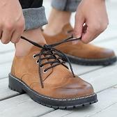 皮鞋 馬丁靴男春夏季戶外低筒工裝鞋耐磨工作鞋防滑布洛克休閒大頭皮鞋
