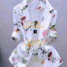 西裝外套薄款洋裝開衫女短款防曬印花修身西...