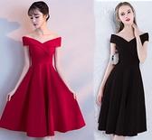 2021結婚紅色新娘修身顯瘦短款敬酒服一字肩小個子禮服日常連身裙 韓國時尚週 免運