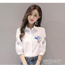短袖襯衫 純色棉繡花襯衫女中短袖春夏季新款女裝洋氣質正韓白襯衣上衣 2021新款