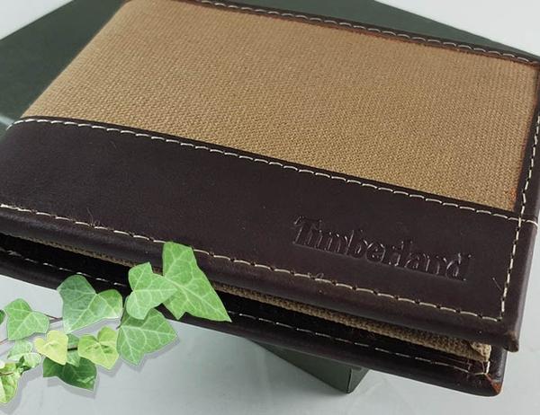 【Timberland】男皮夾 短夾 帆布 牛皮夾 多卡夾 大鈔夾 品牌盒裝/黃褐色