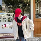 風衣外套洋裝女 秋正韓學生bf原宿寬鬆大碼拼色抽繩港風棒球服風衣