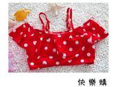 女童紅色愛心點點分體游泳衣