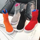 2018秋季新款短靴彈力針織毛線襪子靴英倫風學生百搭休閑女鞋靴