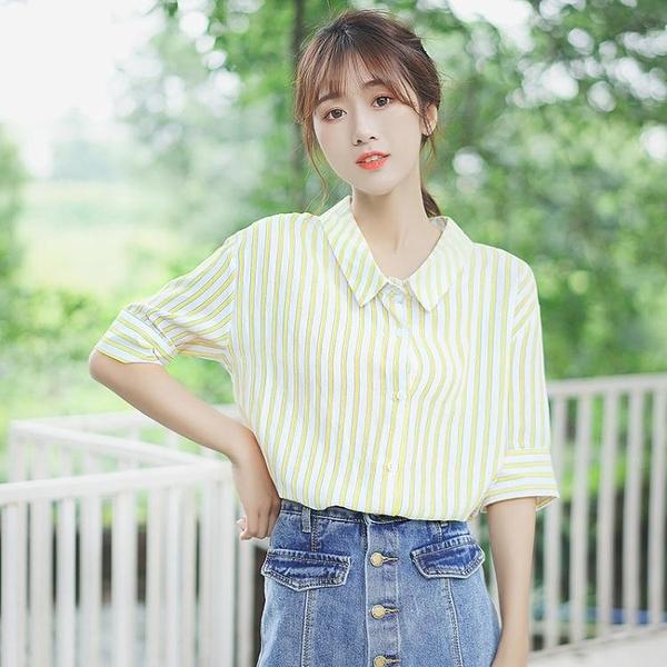 短袖襯衫 2021新款襯衫女半袖上衣翻領黃色條紋短袖襯衣學生polo衫夏 童趣屋 免運