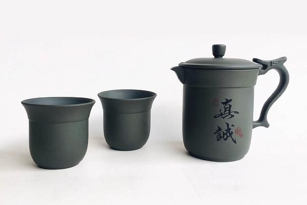 *巧中杯*(綠泥) - 一壺二杯李日勝創作- 特殊崁蓋設計茶器/辦公室型茶壺【亞舍泥作】
