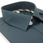 【金‧安德森】經典格紋繞領黑格黑色黑釦吸排長袖襯衫