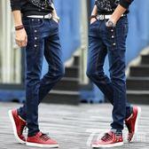 2018春季新款韓版學生牛仔褲男青少年初中學生修身小腳潮流牛仔庫