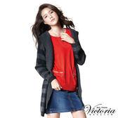 Victoria 蝴蝶結拉鍊寬鬆七分袖線衫-女-紅色