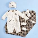 【金安德森】滿月服禮盒春夏款-經典格包巾+長兔裝